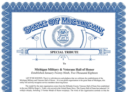 image preview of the hall of honor tribute document